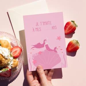 invitation d'anniversaire rose